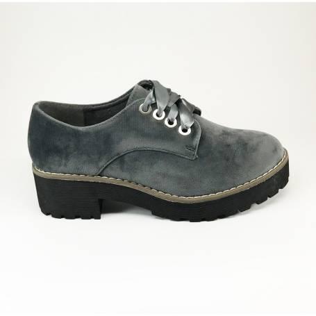 Zapato De Con Mujer Cordones Terciopelo Gris yvmNw8On0
