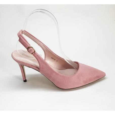b2e745a2ccdc5 Zapato Tacón Ante Rosa