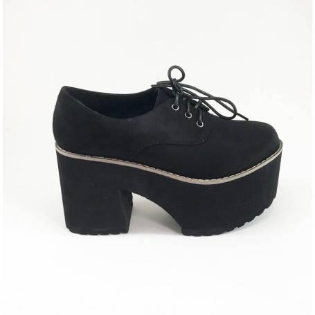 Zapato Tacón Ante Cordones Con Negro Plataforma kuPZXOi