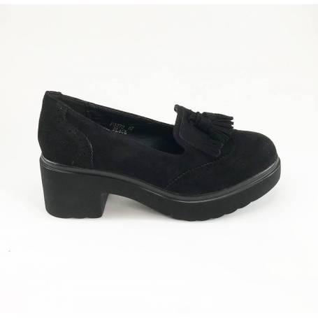 Tacón Con Ante Zapato Negro Borlones LR53A4jq