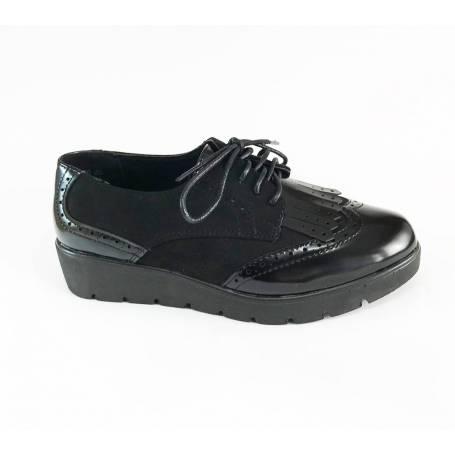 estilos de moda gran descuento de 2019 compra original Zapatp Plataforma Ante Charol Negro con Cordones y Flecos